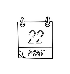 Calendar hand drawn in doodle style may 22 vector