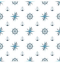 captain wheel water anchor seaman compass vector image