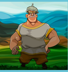 cartoon man hero in a helmet stands in the steppe vector image