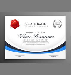 certificate template design with blue wave vector image