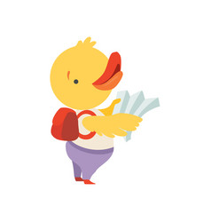 Cheerful tourist duckling with map and backpack vector