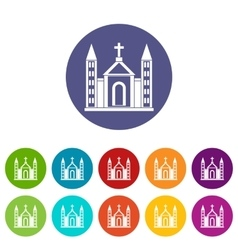 Christian catholic church building set icons vector