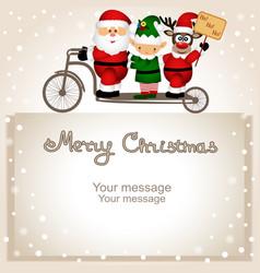 christmas card santa claus elf and christmas vector image