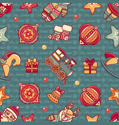 Christmas toys seamless pattern holiday background vector