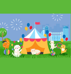 Circus cats in marquee tent cute animals cartoon vector