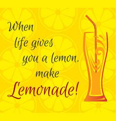 Citrus background a glass of lemonade vector