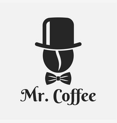 coffee bean with hat logo mister coffee on white vector image