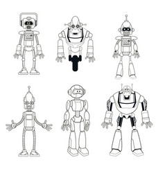 Collection robots technology smart thin line vector