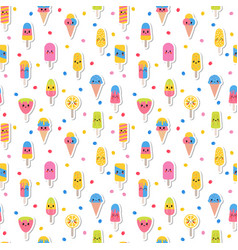 colorful summer seamless pattern with kawaii ice vector image