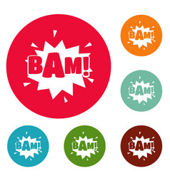 Comic boom bam icons circle set vector