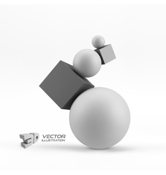 Composition of 3d geometric shapes vector