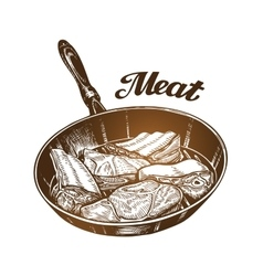 Cooking Frying pan with meat Sketch vector