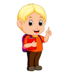 Cute boy walking with books vector