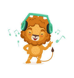 Cute young lion cartoon character standing with vector