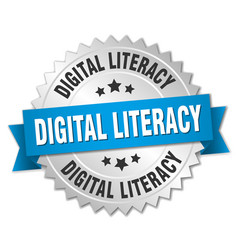 digital literacy round isolated silver badge vector image vector image