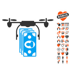 drone banknotes payment icon with dating bonus vector image