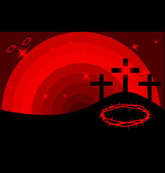 Easter - golgotha three crosses vector