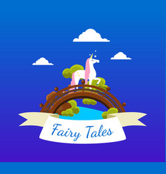 fairy tales banner template with beautiful unicorn vector image
