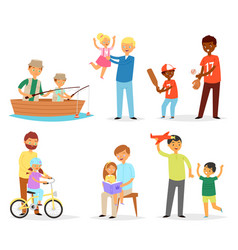 father and child dad and kids daughter son vector image