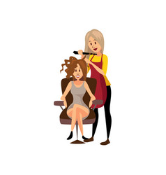 Female hairdresser making hairstyle using curling vector
