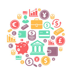 finance and bank icons on circle background vector image
