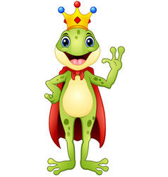 Frog prince cartoon waving hand vector
