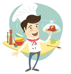 Funny chef serving meat dish in the kitchen vector image