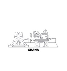 Ghana line travel skyline set ghana outline city vector