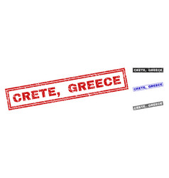 grunge crete greece scratched rectangle vector image