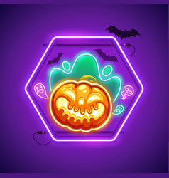 halloween neon sign with creepy pumpkin vector image