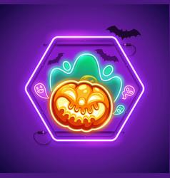 Halloween neon sign with creepy pumpkin vector