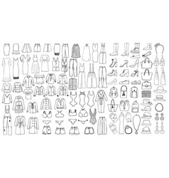 hand drawn set woman clothes line art vector image
