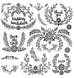Hand drawn wedding collection with lettering vector