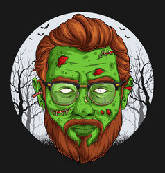 Handsome zombie face over full moon vector