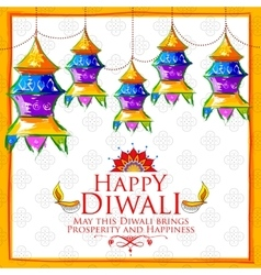 Hanging kandil on happy Diwali Holiday background vector