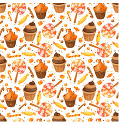 happy halloween sweet seamless pattern trick or vector image