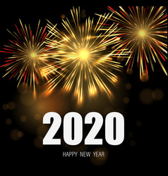 happy new year greeting card with 2020 numbers and vector image