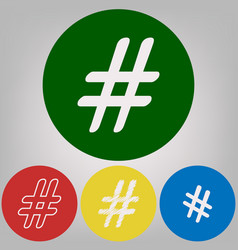 Hashtag sign 4 white styles vector