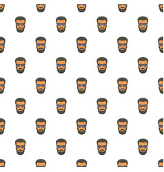hipster man face pattern seamless vector image