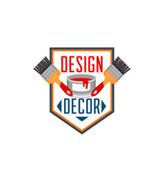 Home decor paint brush interior design icon vector