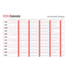 horizontal 2019 calendar designsunday weekend vector image