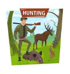 Hunter in forest with wild animals trophy vector