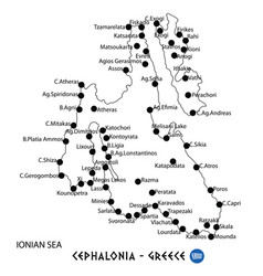 Island of cephalonia in greece map on white vector
