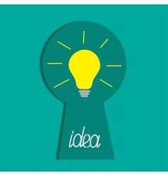 Keyhole and idea light bulb inside flat design vector