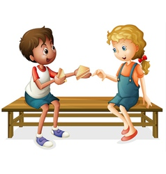 kids sitting on a bench vector image