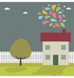 landscape and house vector image