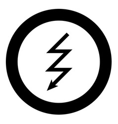Lightning icon black color in circle round vector