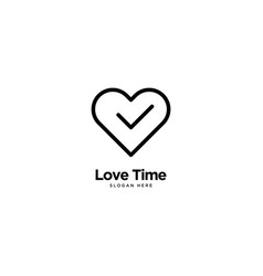 Love time logo outline monoline vector