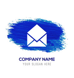 Mail icon - blue watercolor background vector
