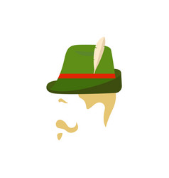 man with traditional german green hat side view vector image